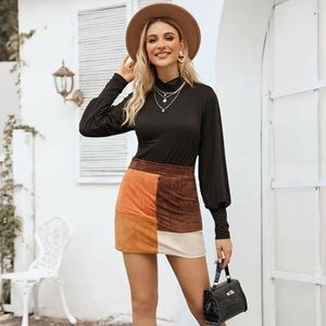 Suede Contrast Panel Mini Skirt